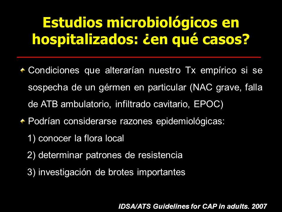 Estudios microbiológicos en hospitalizados: ¿en qué casos? Condiciones que alterarían nuestro Tx empírico si se sospecha de un gérmen en particular (N