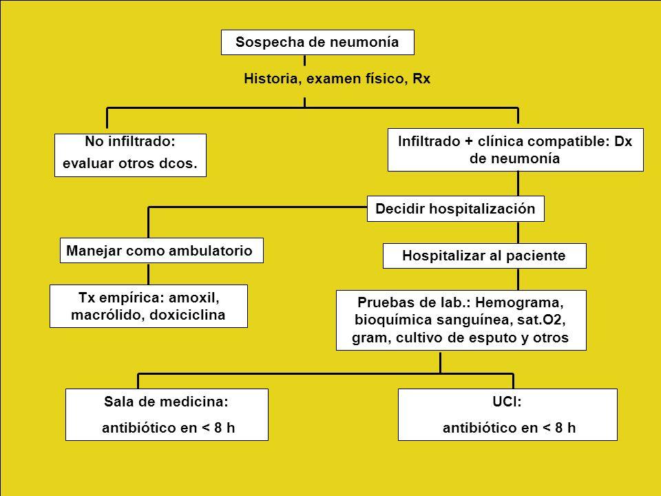 Sospecha de neumonía Historia, examen físico, Rx No infiltrado: evaluar otros dcos. Infiltrado + clínica compatible: Dx de neumonía Decidir hospitaliz