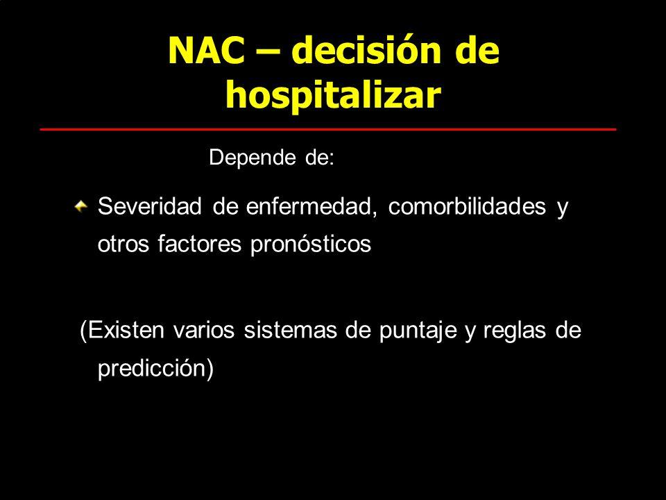 NAC – decisión de hospitalizar Severidad de enfermedad, comorbilidades y otros factores pronósticos (Existen varios sistemas de puntaje y reglas de pr