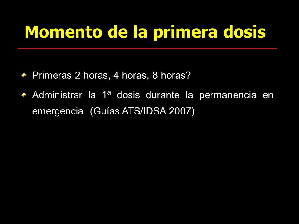 Momento de la primera dosis Primeras 2 horas, 4 horas, 8 horas? Administrar la 1ª dosis durante la permanencia en emergencia (Guías ATS/IDSA 2007)
