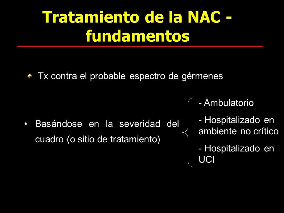 Tratamiento de la NAC - fundamentos Basándose en la severidad del cuadro (o sitio de tratamiento) Tx contra el probable espectro de gérmenes - Ambulat