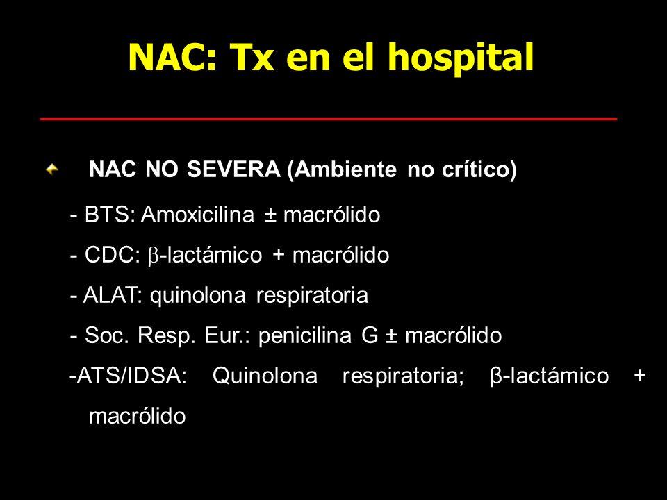NAC: Tx en el hospital NAC NO SEVERA (Ambiente no crítico) - BTS: Amoxicilina ± macrólido - CDC: -lactámico + macrólido - ALAT: quinolona respiratoria