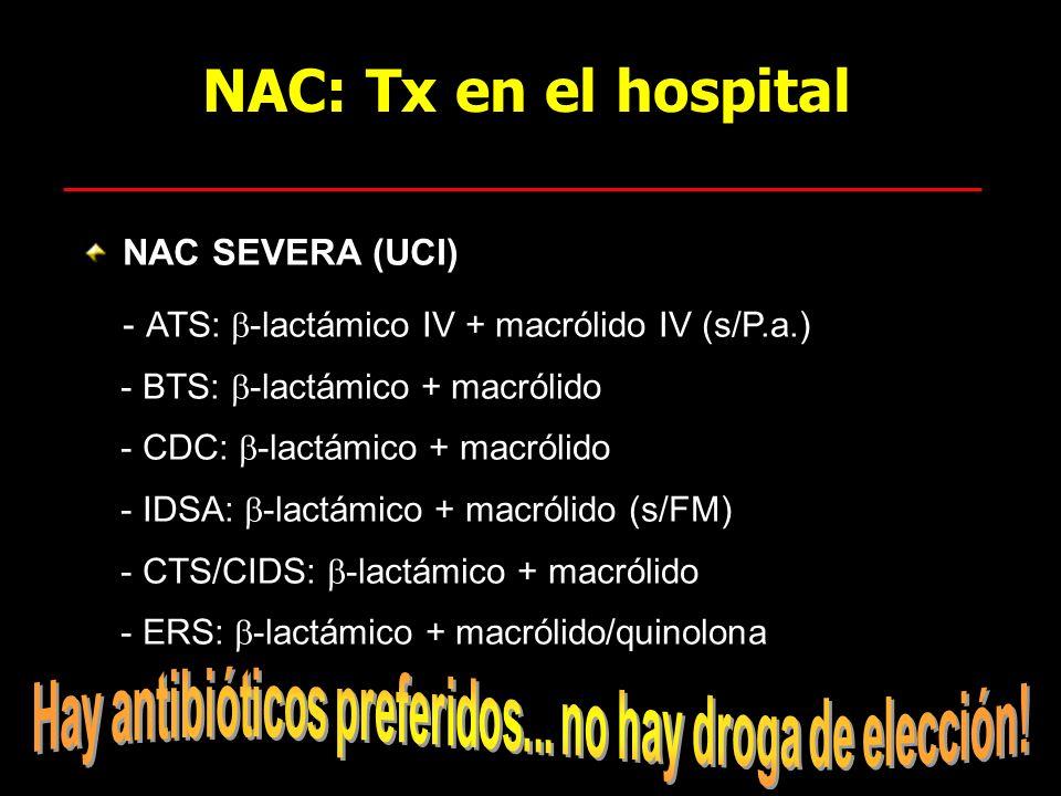 NAC: Tx en el hospital NAC SEVERA (UCI) - ATS: -lactámico IV + macrólido IV (s/P.a.) - BTS: -lactámico + macrólido - CDC: -lactámico + macrólido - IDS