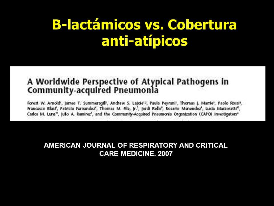 B-lactámicos vs. Cobertura anti-atípicos AMERICAN JOURNAL OF RESPIRATORY AND CRITICAL CARE MEDICINE. 2007