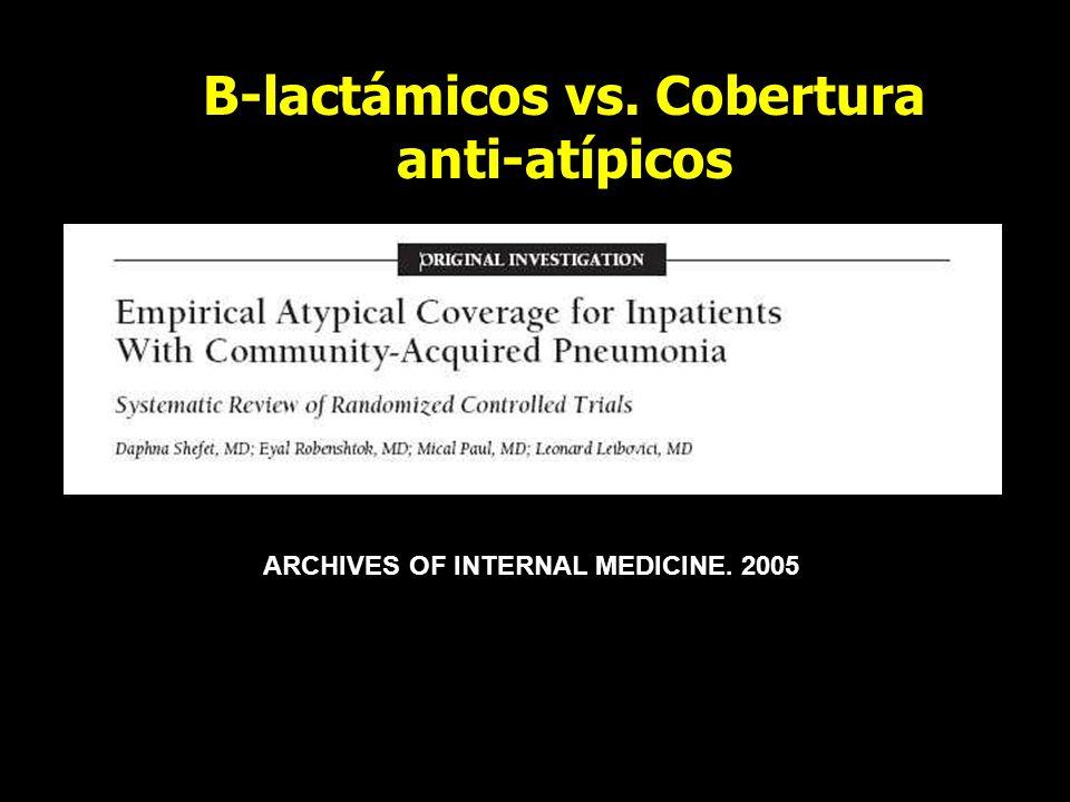B-lactámicos vs. Cobertura anti-atípicos ARCHIVES OF INTERNAL MEDICINE. 2005