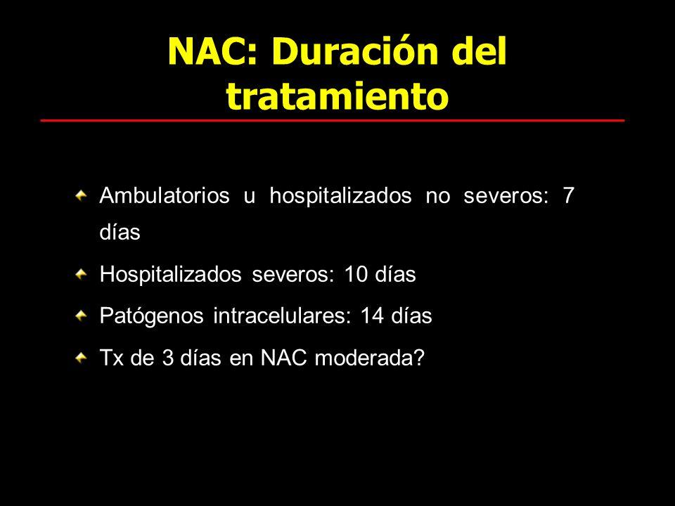 NAC: Duración del tratamiento Ambulatorios u hospitalizados no severos: 7 días Hospitalizados severos: 10 días Patógenos intracelulares: 14 días Tx de