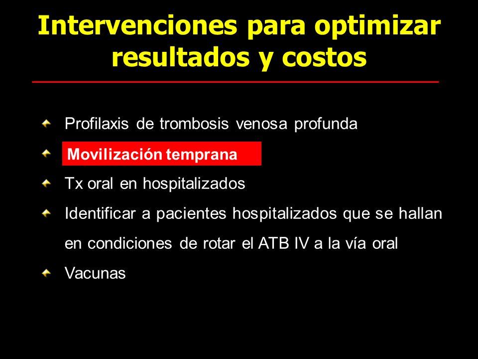 Intervenciones para optimizar resultados y costos Profilaxis de trombosis venosa profunda k Tx oral en hospitalizados Identificar a pacientes hospital