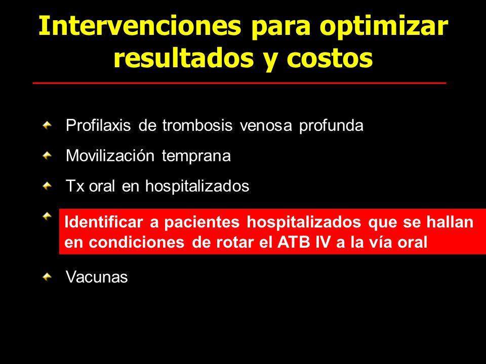 Intervenciones para optimizar resultados y costos Profilaxis de trombosis venosa profunda Movilización temprana Tx oral en hospitalizados F Vacunas Id