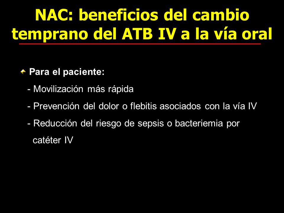 NAC: beneficios del cambio temprano del ATB IV a la vía oral Para el paciente: - Movilización más rápida - Prevención del dolor o flebitis asociados c