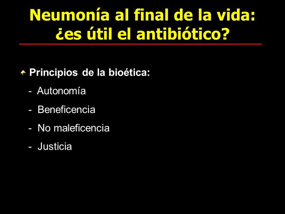 Neumonía al final de la vida: ¿es útil el antibiótico? Principios de la bioética: - Autonomía - Beneficencia - No maleficencia - Justicia