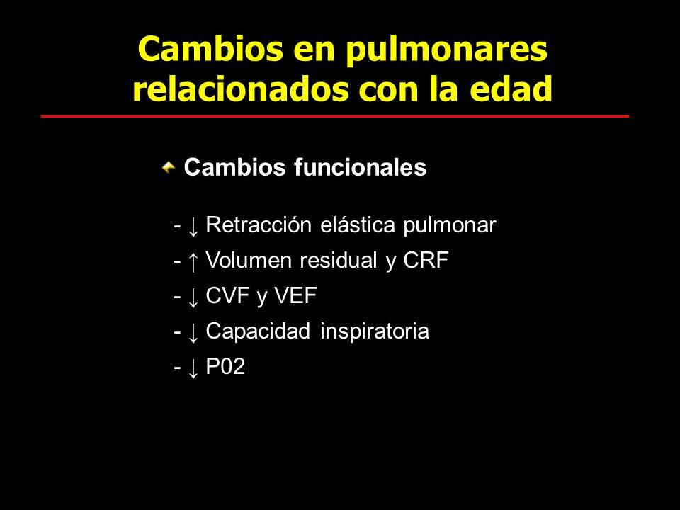 Cambios en pulmonares relacionados con la edad Cambios funcionales - Retracción elástica pulmonar - Volumen residual y CRF - CVF y VEF - Capacidad ins