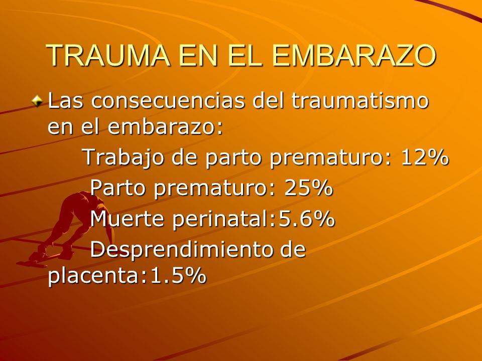 TRAUMA EN EL EMBARAZO Etiología de la muerte fetal: Accidentes vehiculares: 82% Accidentes vehiculares: 82% Heridas:6% Heridas:6% Caídas:3% Caídas:3% El feto no es considerado viable hasta las 25 s gestación.