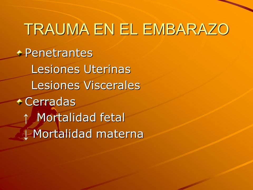 TRAUMA EN EL EMBARAZO Penetrantes Lesiones Uterinas Lesiones Uterinas Lesiones Viscerales Lesiones VisceralesCerradas Mortalidad fetal Mortalidad feta