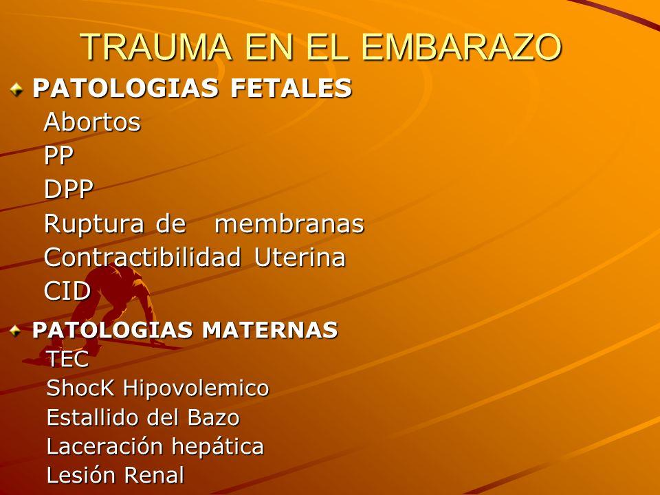TRAUMA EN EL EMBARAZO PATOLOGIAS FETALES Abortos Abortos PP PP DPP DPP Ruptura de membranas Ruptura de membranas Contractibilidad Uterina Contractibil