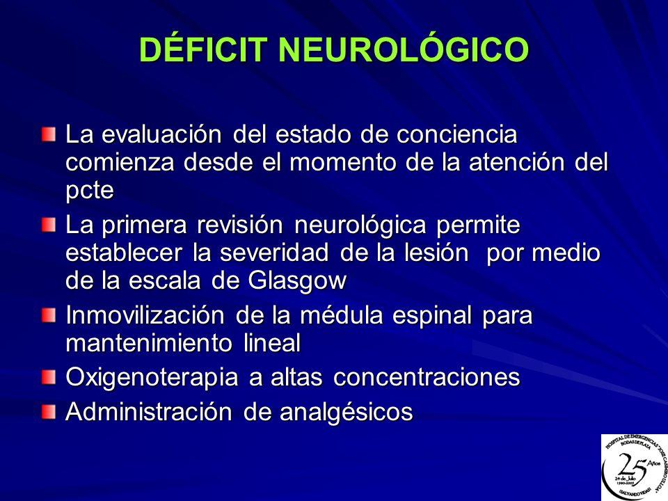 DÉFICIT NEUROLÓGICO La evaluación del estado de conciencia comienza desde el momento de la atención del pcte La primera revisión neurológica permite e