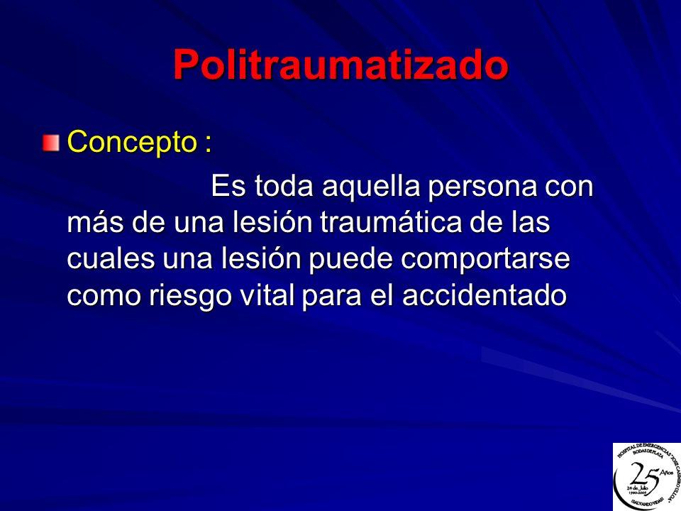 Politraumatizado Concepto : Es toda aquella persona con más de una lesión traumática de las cuales una lesión puede comportarse como riesgo vital para