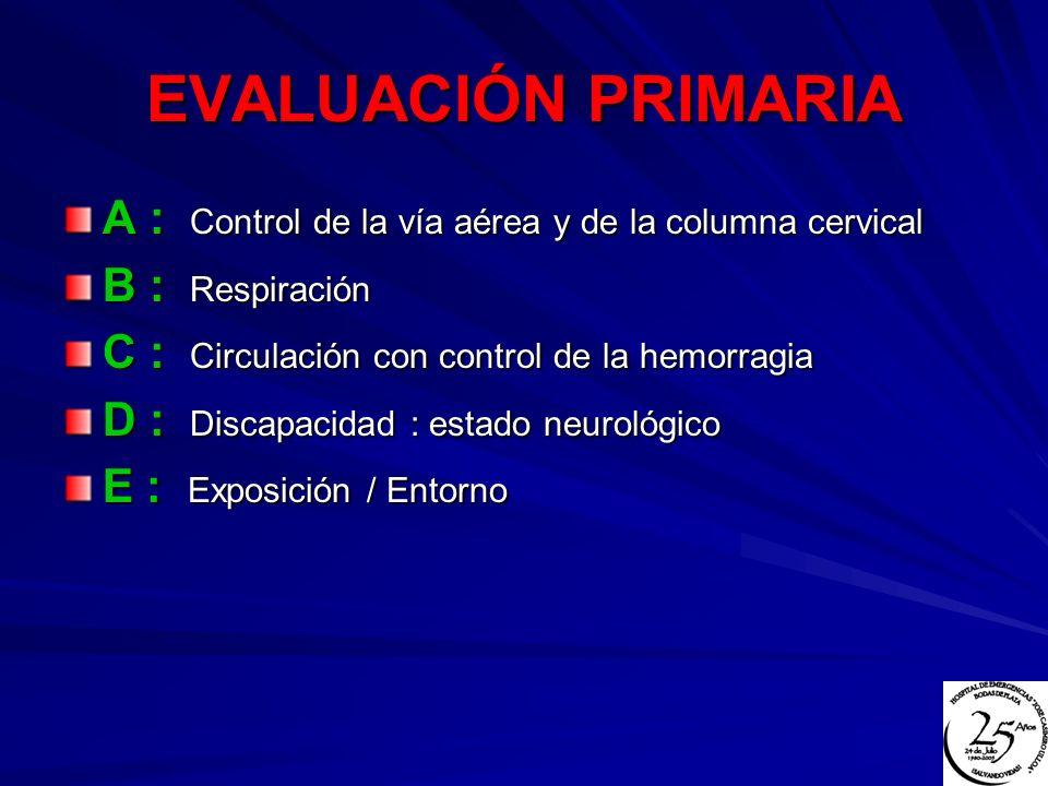 EVALUACIÓN PRIMARIA A : Control de la vía aérea y de la columna cervical B : Respiración C : Circulación con control de la hemorragia D : Discapacidad
