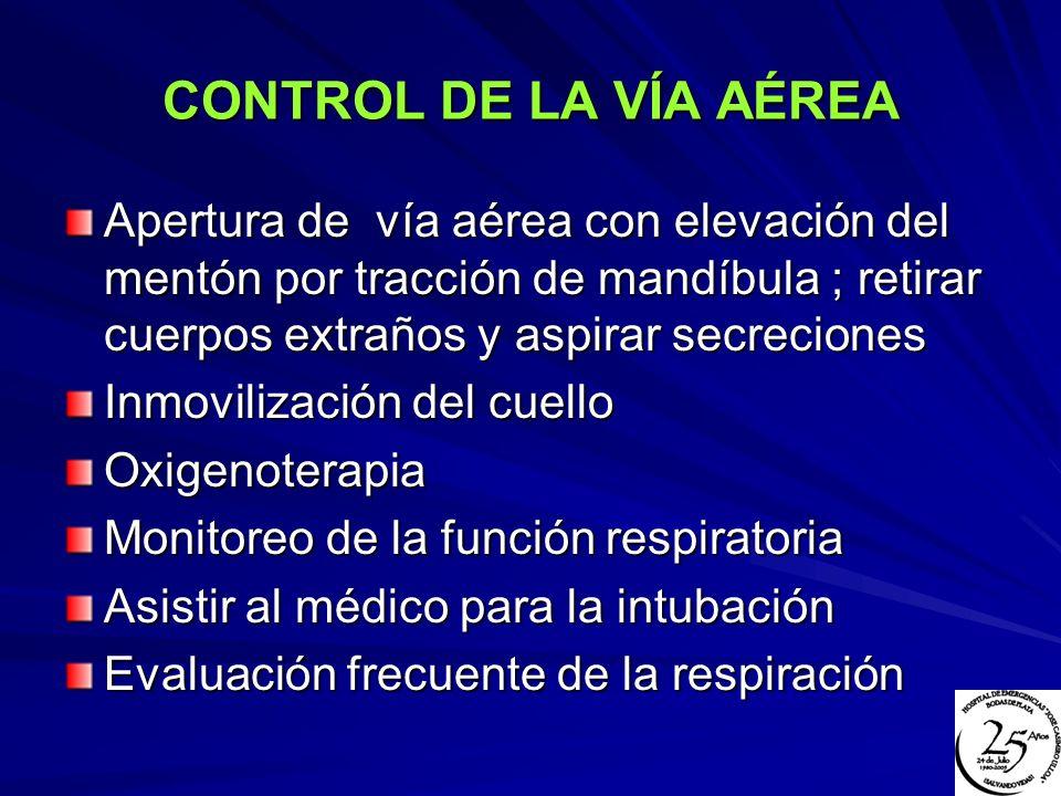 VENTILACIÓN Y RESPIRACIÓN Para correcta ventilación entonces asegurar una vía aérea permeable Si ventilación no mejora entonces buscar otras causas (trauma toráccico directo, TEC y lesión medular alta) En pacientes con trauma toráccico identificar el neumotórax, contusión pulmonar, tórax inestable y hemotórax