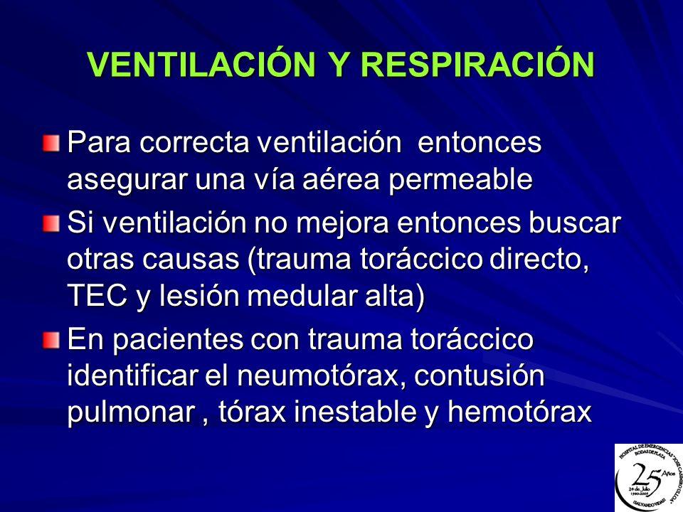 VENTILACIÓN Y RESPIRACIÓN Para correcta ventilación entonces asegurar una vía aérea permeable Si ventilación no mejora entonces buscar otras causas (t