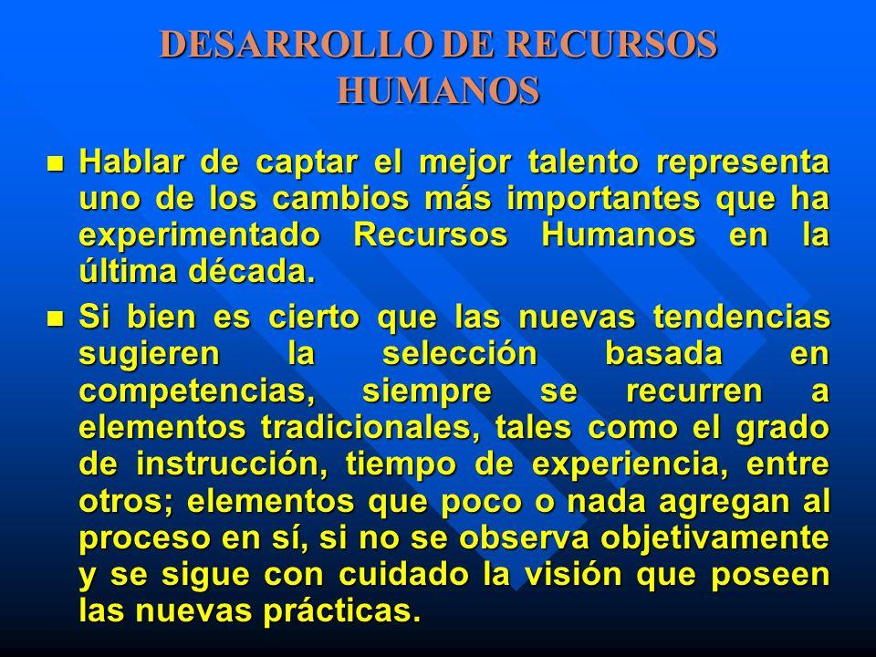 DESARROLLO DE RECURSOS HUMANOS Hablar de captar el mejor talento representa uno de los cambios más importantes que ha experimentado Recursos Humanos e