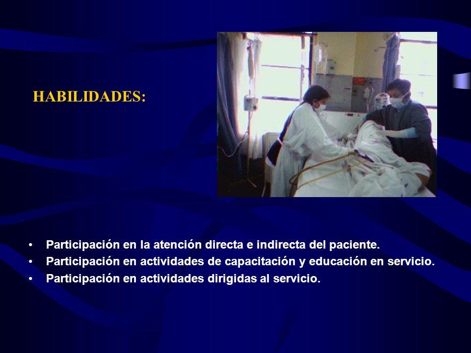 Participación en la atención directa e indirecta del paciente. Participación en actividades de capacitación y educación en servicio. Participación en