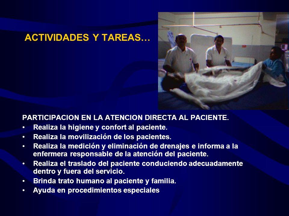 ACTIVIDADES Y TAREAS… PARTICIPACION EN LA ATENCION DIRECTA AL PACIENTE. Realiza la higiene y confort al paciente. Realiza la movilización de los pacie