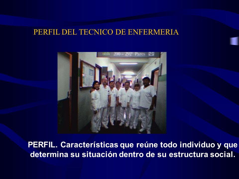 PERFIL DEL TECNICO DE ENFERMERIA PERFIL. Características que reúne todo individuo y que determina su situación dentro de su estructura social.