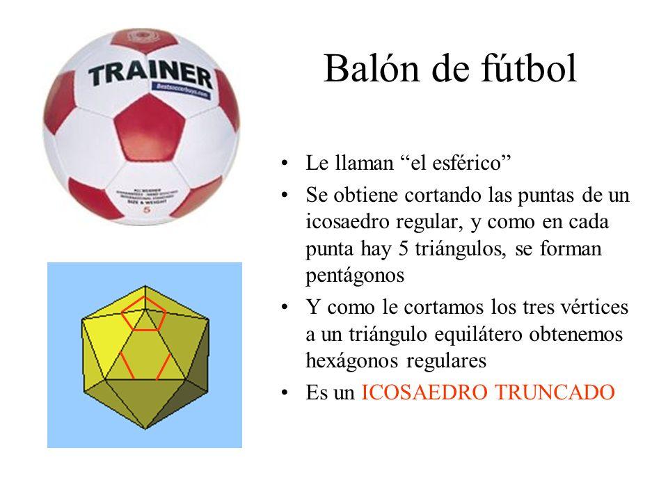 Balón de fútbol Le llaman el esférico Se obtiene cortando las puntas de un icosaedro regular, y como en cada punta hay 5 triángulos, se forman pentágo