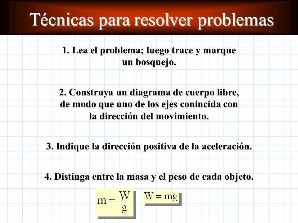 Aplicación de la segunda ley de Newton a problemas de un solo cuerpo ¿Qué aceleración ejercerá una fuerza conocida en un cuerpo con masa conocida? ¿Qu