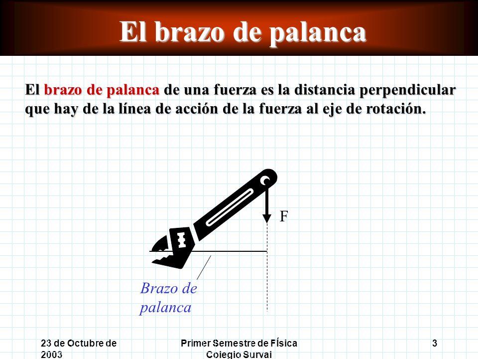 23 de Octubre de 2003 Primer Semestre de FÍsica Colegio Surval 3 El brazo de palanca El brazo de palanca de una fuerza es la distancia perpendicular que hay de la línea de acción de la fuerza al eje de rotación.