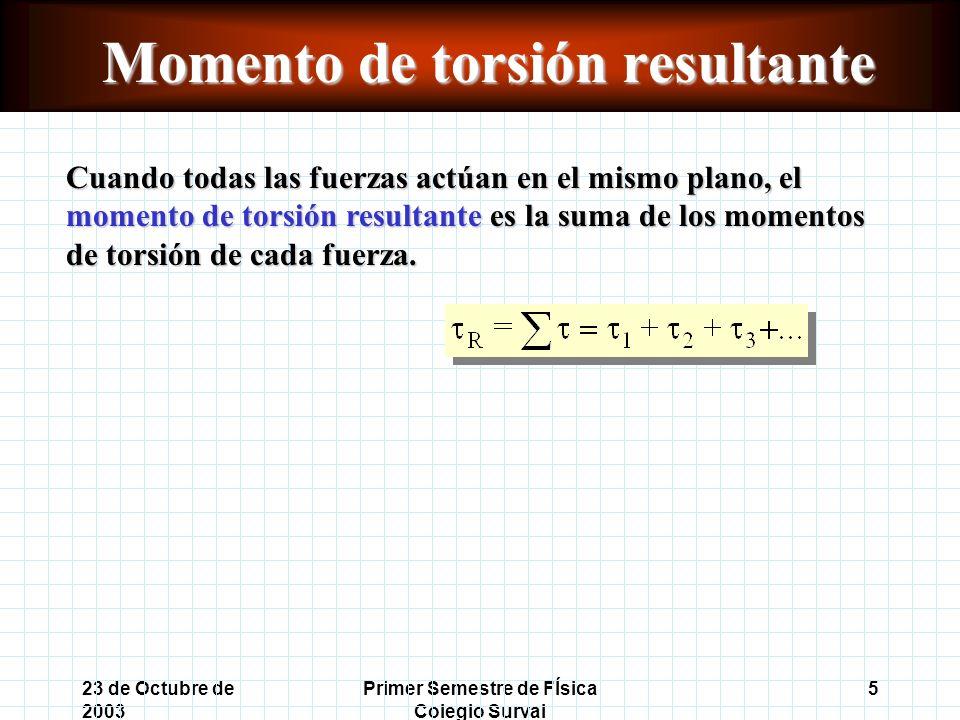 23 de Octubre de 2003 Primer Semestre de FÍsica Colegio Surval 5 Momento de torsión resultante Cuando todas las fuerzas actúan en el mismo plano, el momento de torsión resultante es la suma de los momentos de torsión de cada fuerza.
