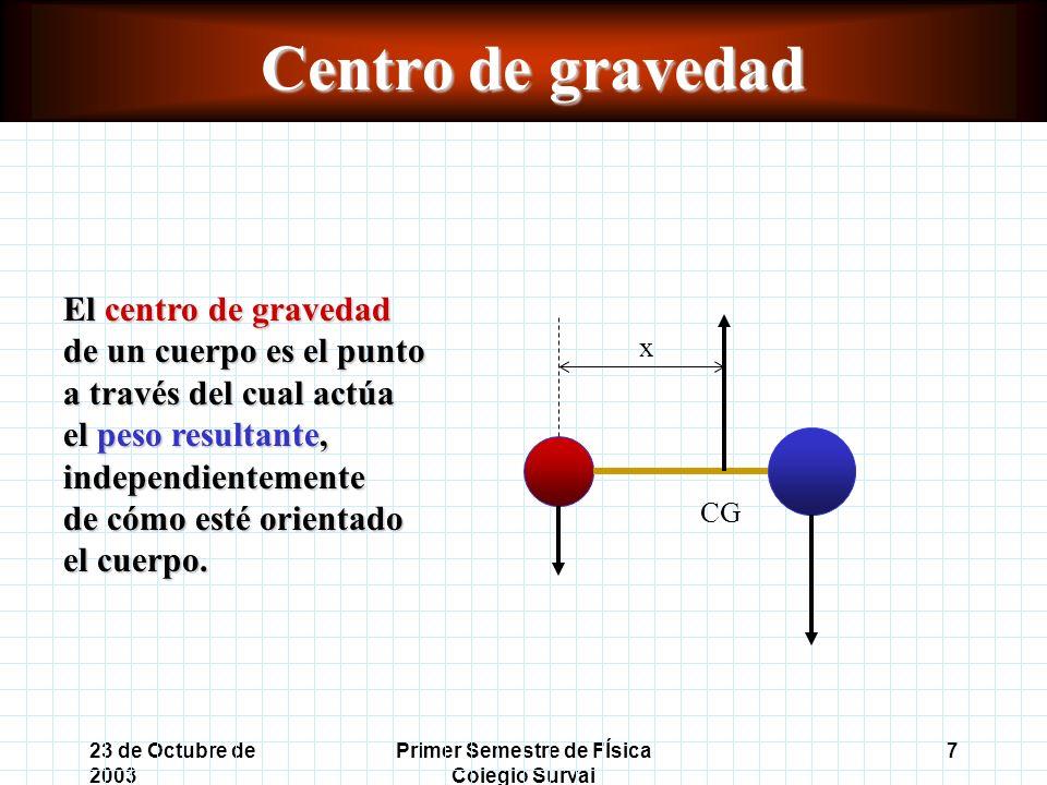 23 de Octubre de 2003 Primer Semestre de FÍsica Colegio Surval 7 Centro de gravedad El centro de gravedad de un cuerpo es el punto a través del cual actúa el peso resultante, independientemente de cómo esté orientado el cuerpo.