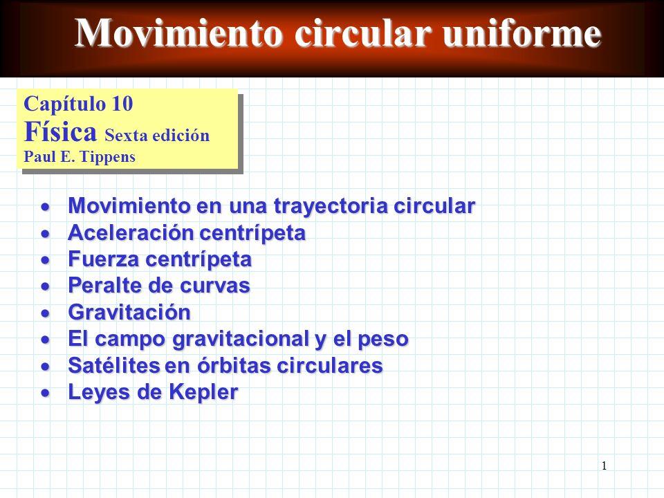 11 Conceptos clave Movimiento circular uniformeMovimiento circular uniforme Aceleración centrípetaAceleración centrípeta Fuerza centrípetaFuerza centrípeta Constante gravitacionalConstante gravitacional Ley de gravitación universalLey de gravitación universal Velocidad linealVelocidad lineal PeriodoPeriodo FrecuenciaFrecuencia Velocidad críticaVelocidad crítica Péndulo cónicoPéndulo cónico
