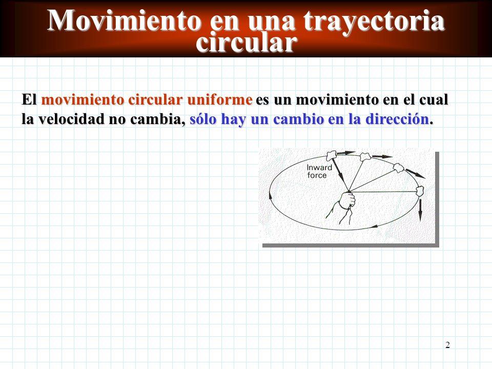 2 Movimiento en una trayectoria circular El movimiento circular uniforme es un movimiento en el cual la velocidad no cambia, sólo hay un cambio en la dirección.