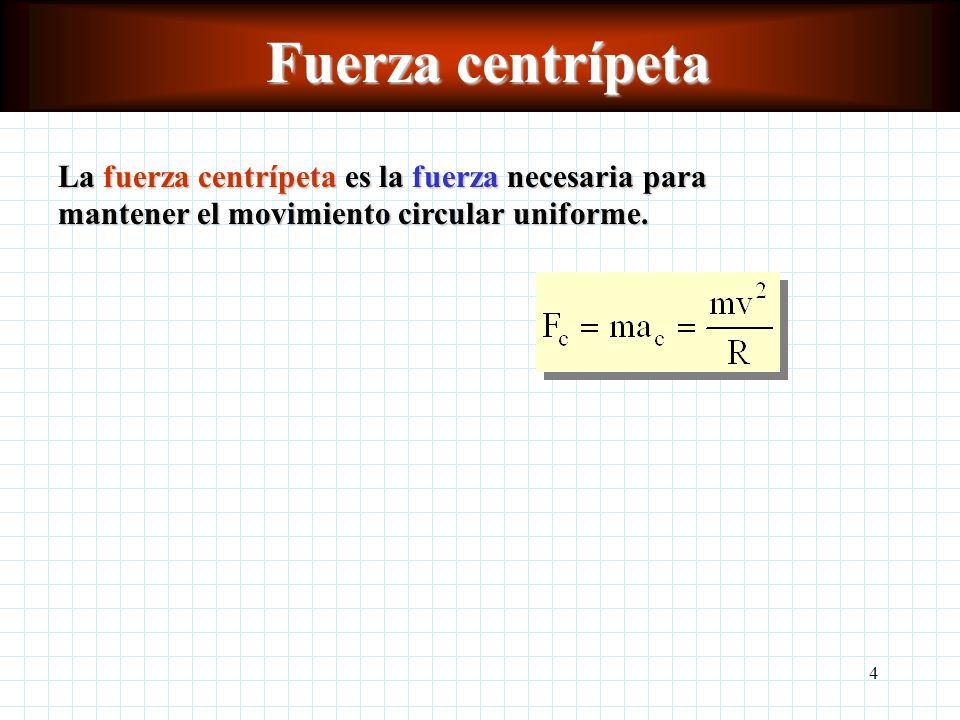 4 Fuerza centrípeta La fuerza centrípeta es la fuerza necesaria para mantener el movimiento circular uniforme.