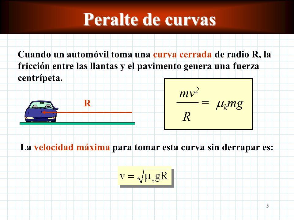 5 Peralte de curvas Cuando un automóvil toma una curva cerrada de radio R, la fricción entre las llantas y el pavimento genera una fuerza centrípeta.