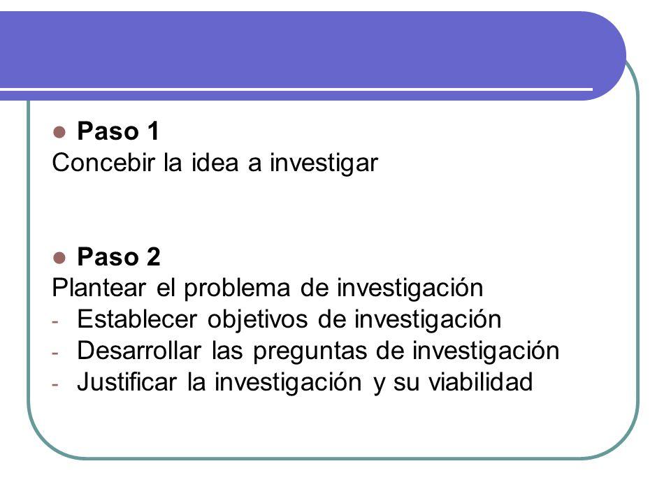 Paso 1 Concebir la idea a investigar Paso 2 Plantear el problema de investigación - Establecer objetivos de investigación - Desarrollar las preguntas