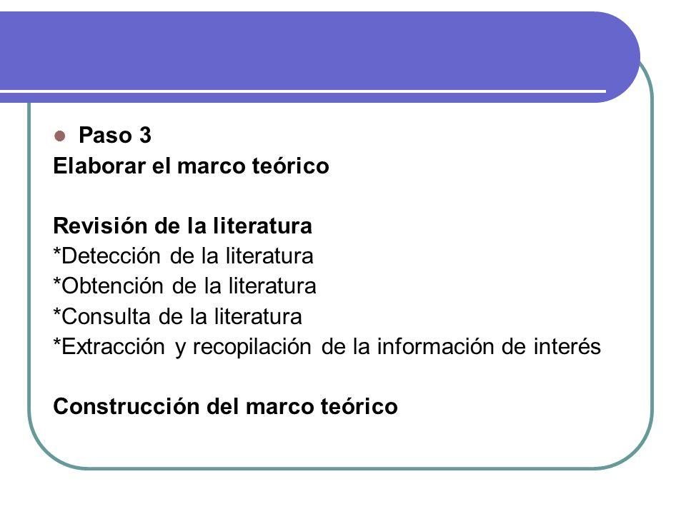 Paso 3 Elaborar el marco teórico Revisión de la literatura *Detección de la literatura *Obtención de la literatura *Consulta de la literatura *Extracc