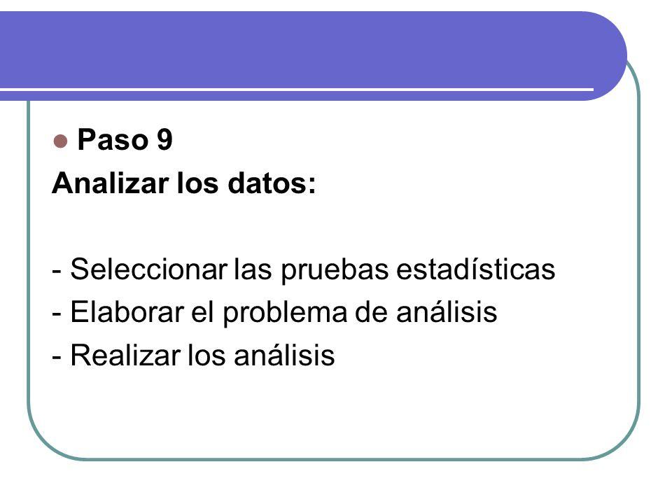 Paso 9 Analizar los datos: - Seleccionar las pruebas estadísticas - Elaborar el problema de análisis - Realizar los análisis