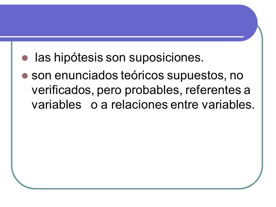 las hipótesis son suposiciones. son enunciados teóricos supuestos, no verificados, pero probables, referentes a variables o a relaciones entre variabl