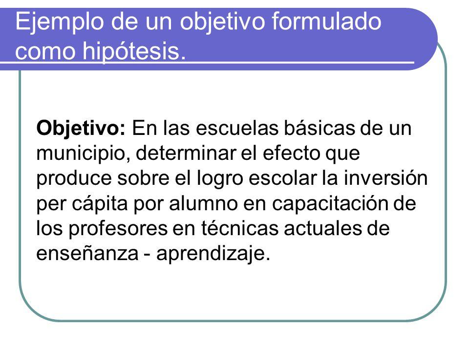 Ejemplo de un objetivo formulado como hipótesis. Objetivo: En las escuelas básicas de un municipio, determinar el efecto que produce sobre el logro es