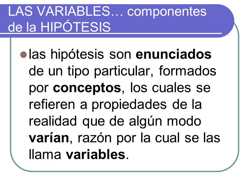LAS VARIABLES… componentes de la HIPÓTESIS las hipótesis son enunciados de un tipo particular, formados por conceptos, los cuales se refieren a propie