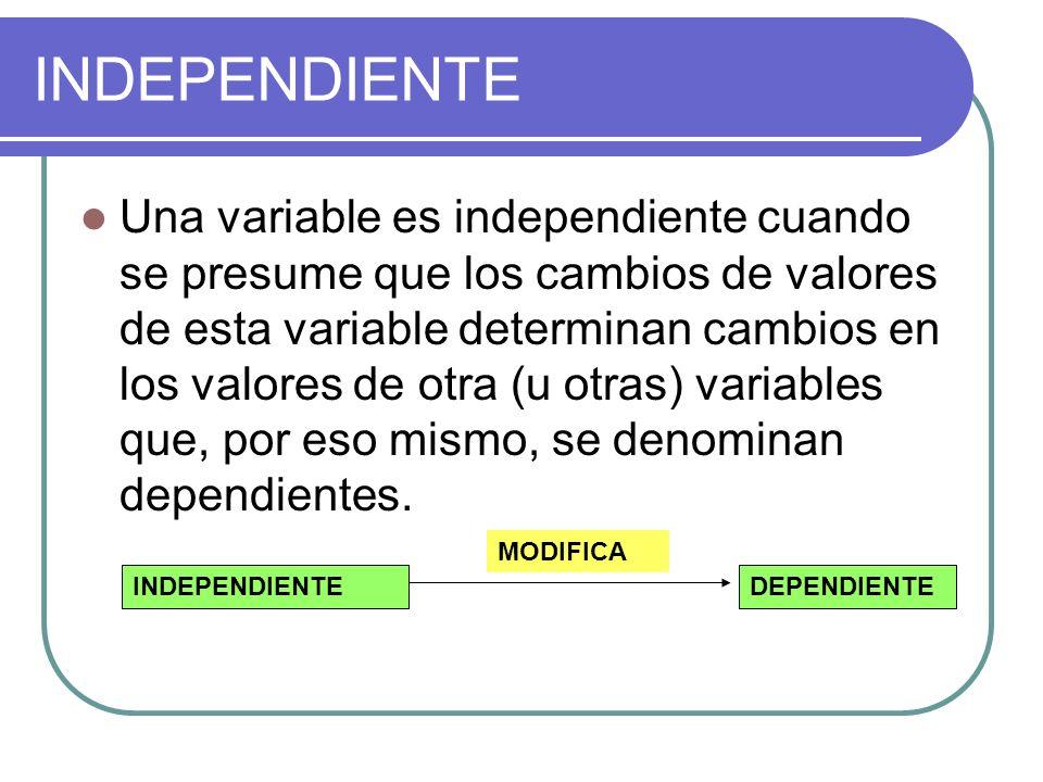 INDEPENDIENTE Una variable es independiente cuando se presume que los cambios de valores de esta variable determinan cambios en los valores de otra (u