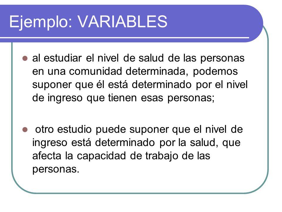 Ejemplo: VARIABLES al estudiar el nivel de salud de las personas en una comunidad determinada, podemos suponer que él está determinado por el nivel de