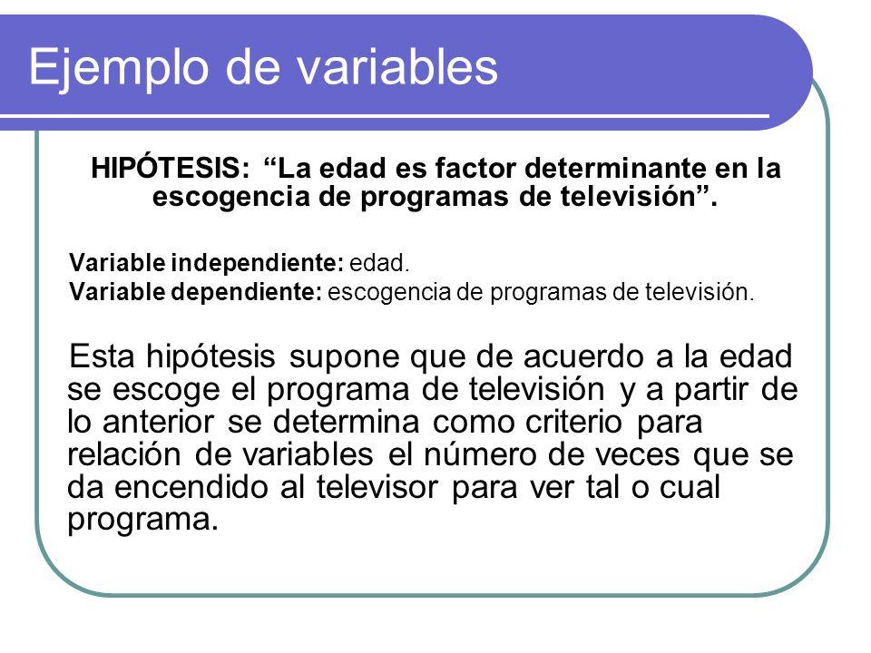 Ejemplo de variables HIPÓTESIS: La edad es factor determinante en la escogencia de programas de televisión. Variable independiente: edad. Variable dep