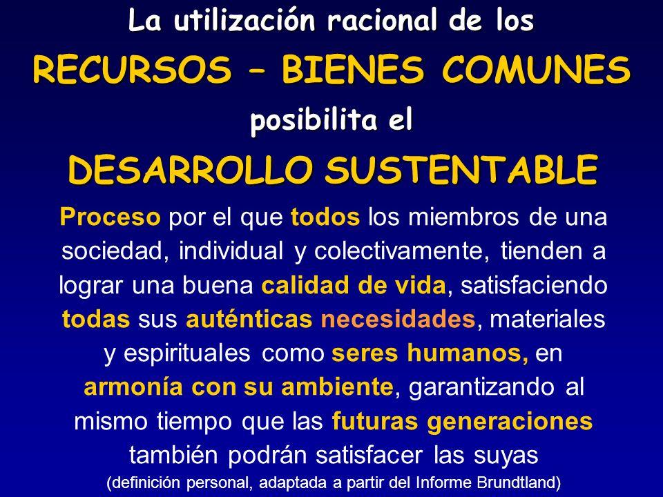 La utilización racional de los RECURSOS – BIENES COMUNES posibilita el Proceso por el que todos los miembros de una sociedad, individual y colectivame