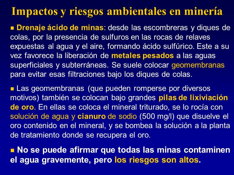 Drenaje ácido de minas: desde las escombreras y diques de colas, por la presencia de sulfuros en las rocas de relaves expuestas al agua y el aire, for