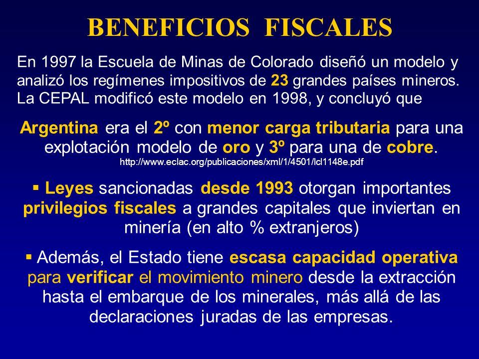 BENEFICIOS FISCALES En 1997 la Escuela de Minas de Colorado diseñó un modelo y analizó los regímenes impositivos de 23 grandes países mineros. La CEPA