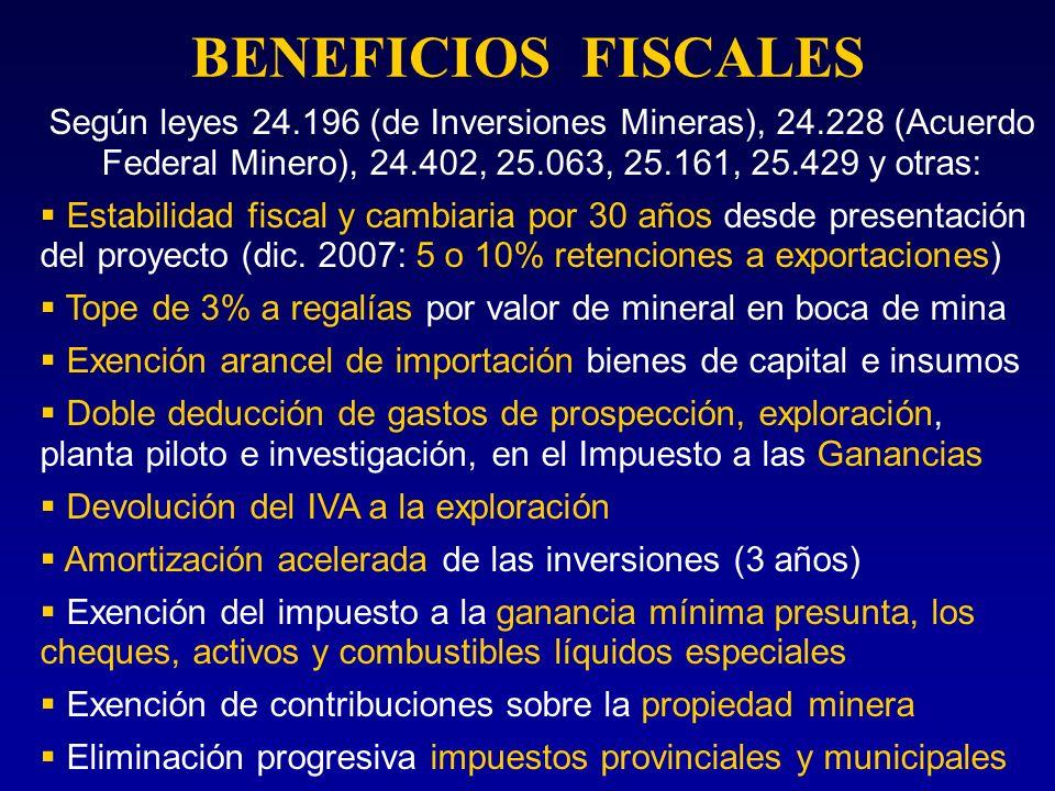 BENEFICIOS FISCALES Según leyes 24.196 (de Inversiones Mineras), 24.228 (Acuerdo Federal Minero), 24.402, 25.063, 25.161, 25.429 y otras: Estabilidad