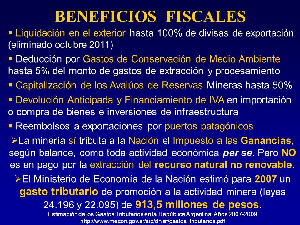 BENEFICIOS FISCALES Liquidación en el exterior hasta 100% de divisas de exportación (eliminado octubre 2011) Deducción por Gastos de Conservación de M